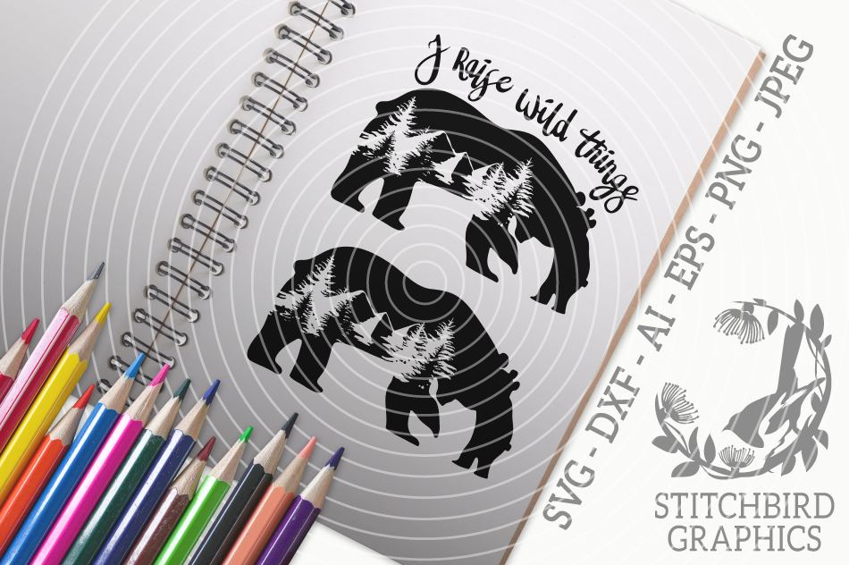 Mother and Baby Bear SVG, Silhouette Studio, Cricut, Eps example image 1