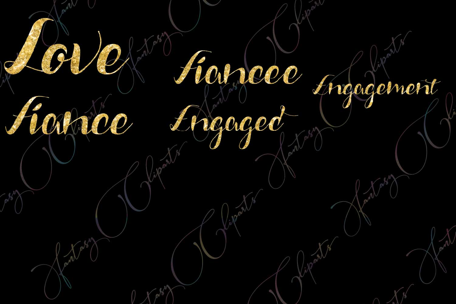 Engagement Word Art Clipart example image 4