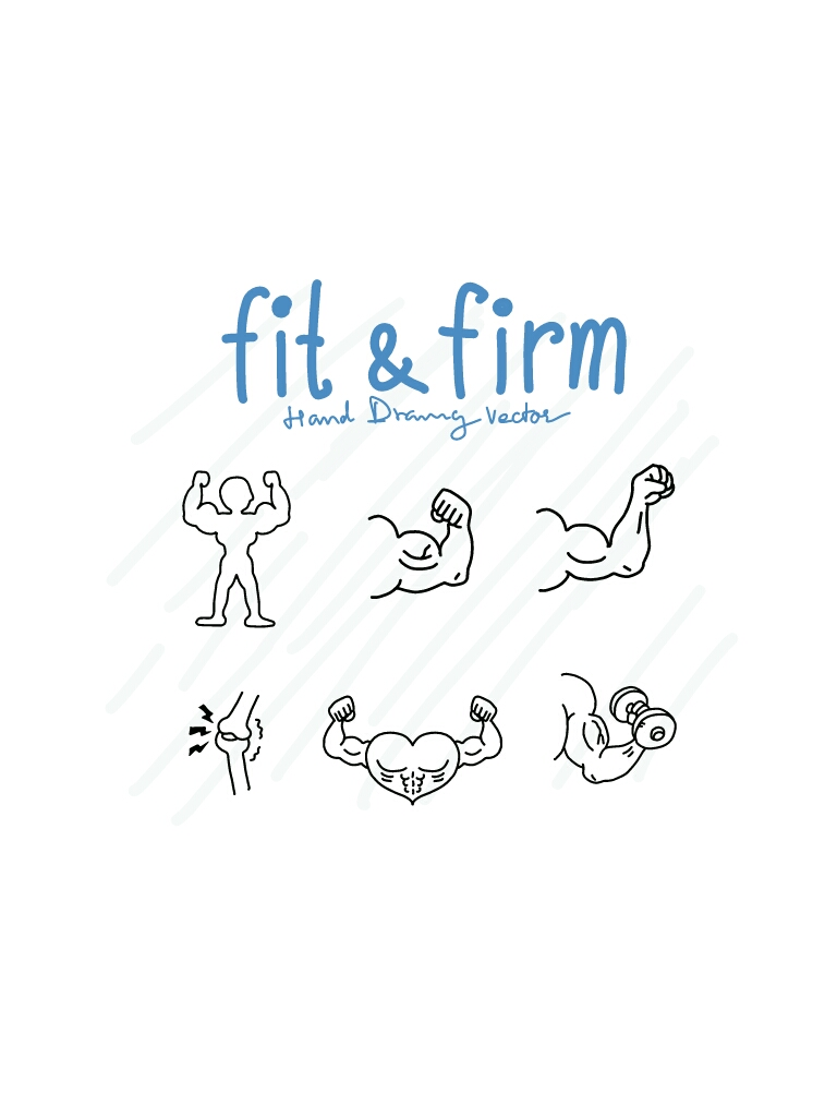 Fit and Firm - SVG/JPG/PNG Hand Drawing example image 1