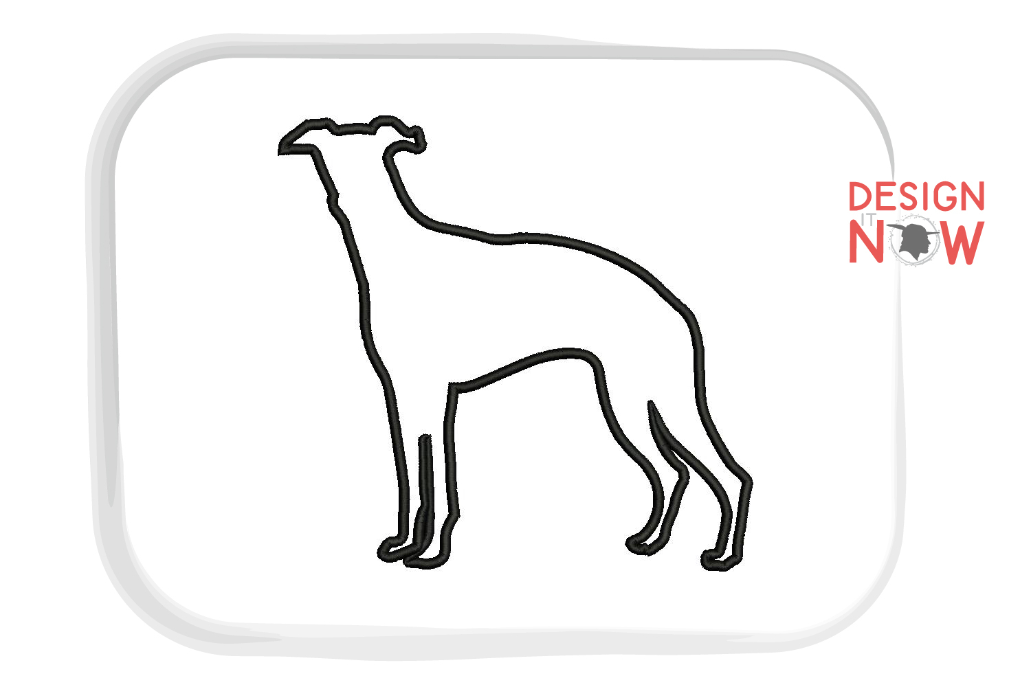 Whippet Dog Applique Design, Dog Embroidery Design example image 2