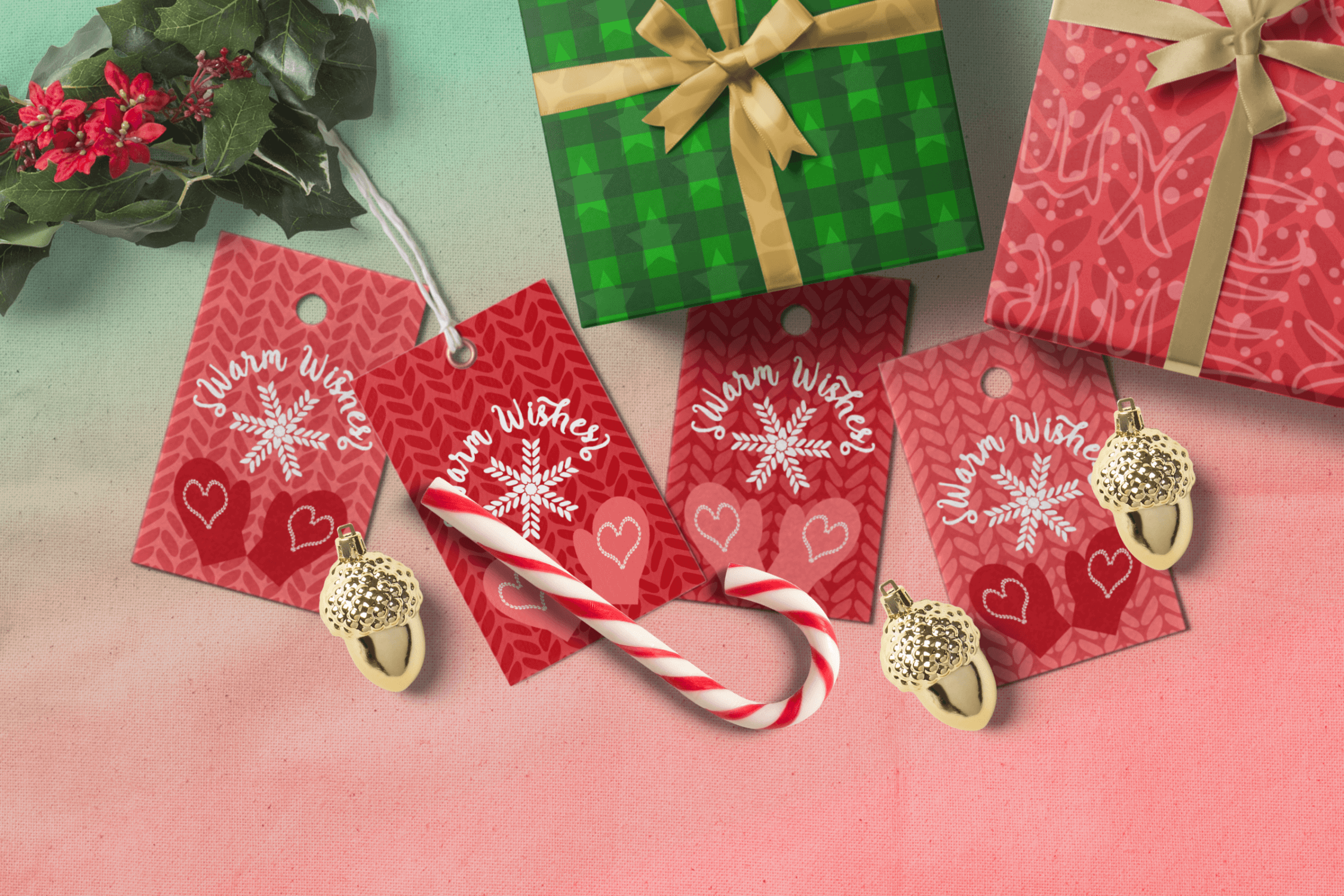 Printable Warm Wishes Red Tags Knitting Branding Tags example image 4