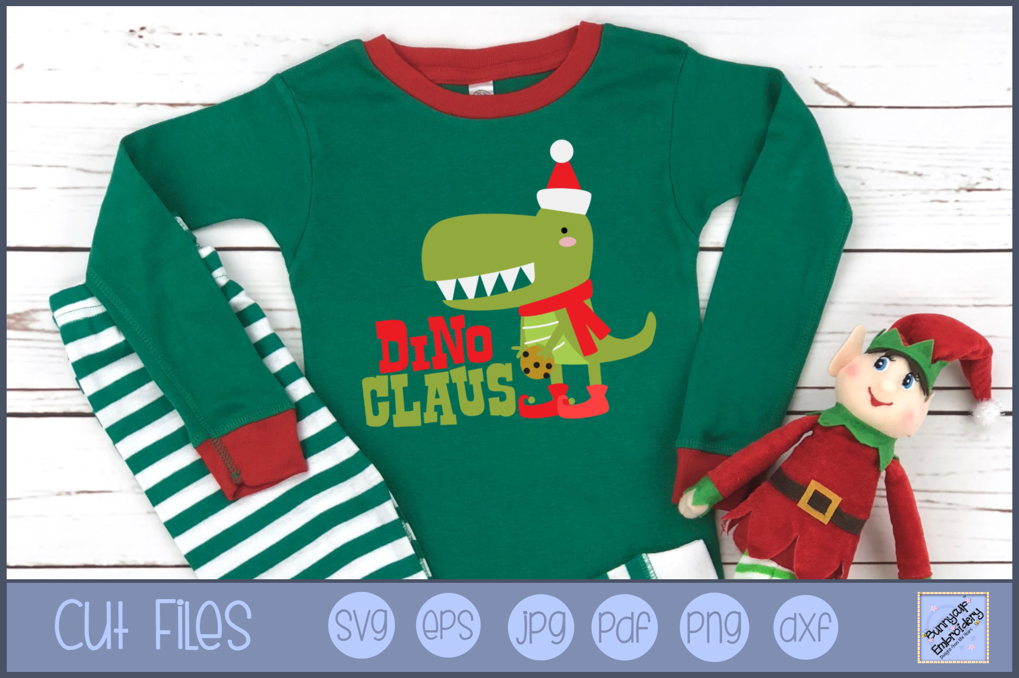 Dino Claus - SVG, Clipart, Printable example image 1