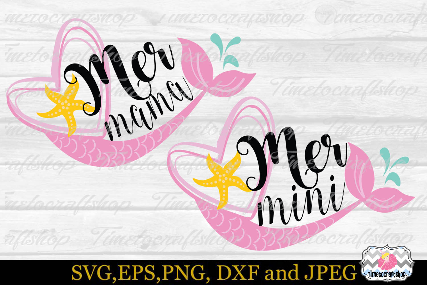 SVG, Eps, Dxf & Png for Mermini and Mermama example image 2