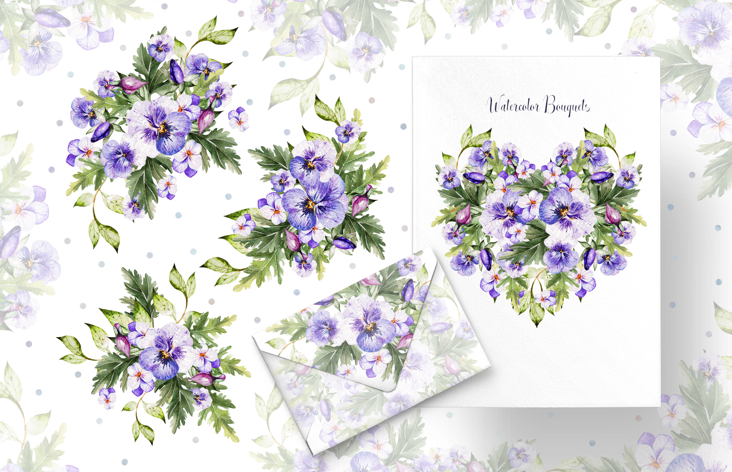 Watercolor PANSY FLOWERS example image 4