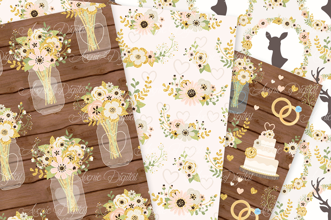 Ivory and Gold Wedding Digital Paper - Ivory Rustic Wedding Deer Seamless Patterns example image 4