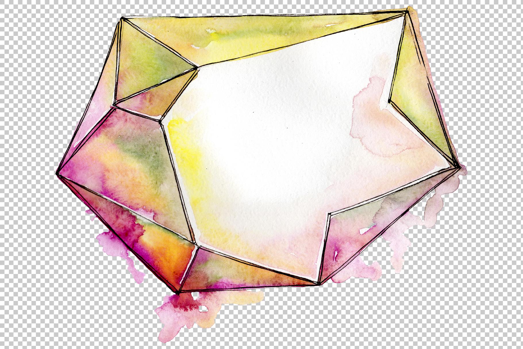 Aquamarine crystals Watercolor png example image 2