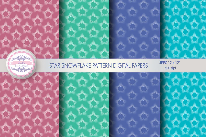 STAR SNOWFLAKE PATTERN DIGITAL PAPERS example image 1