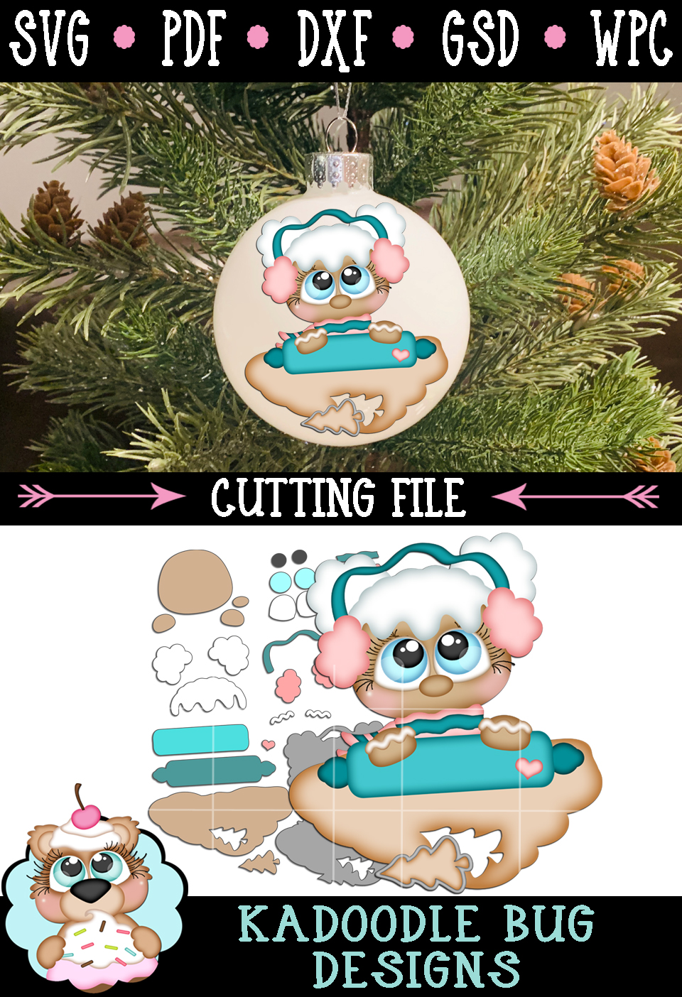 Cookie Dough Ginger Girl Cut File - SVG PDF DXF GSD WPC example image 2