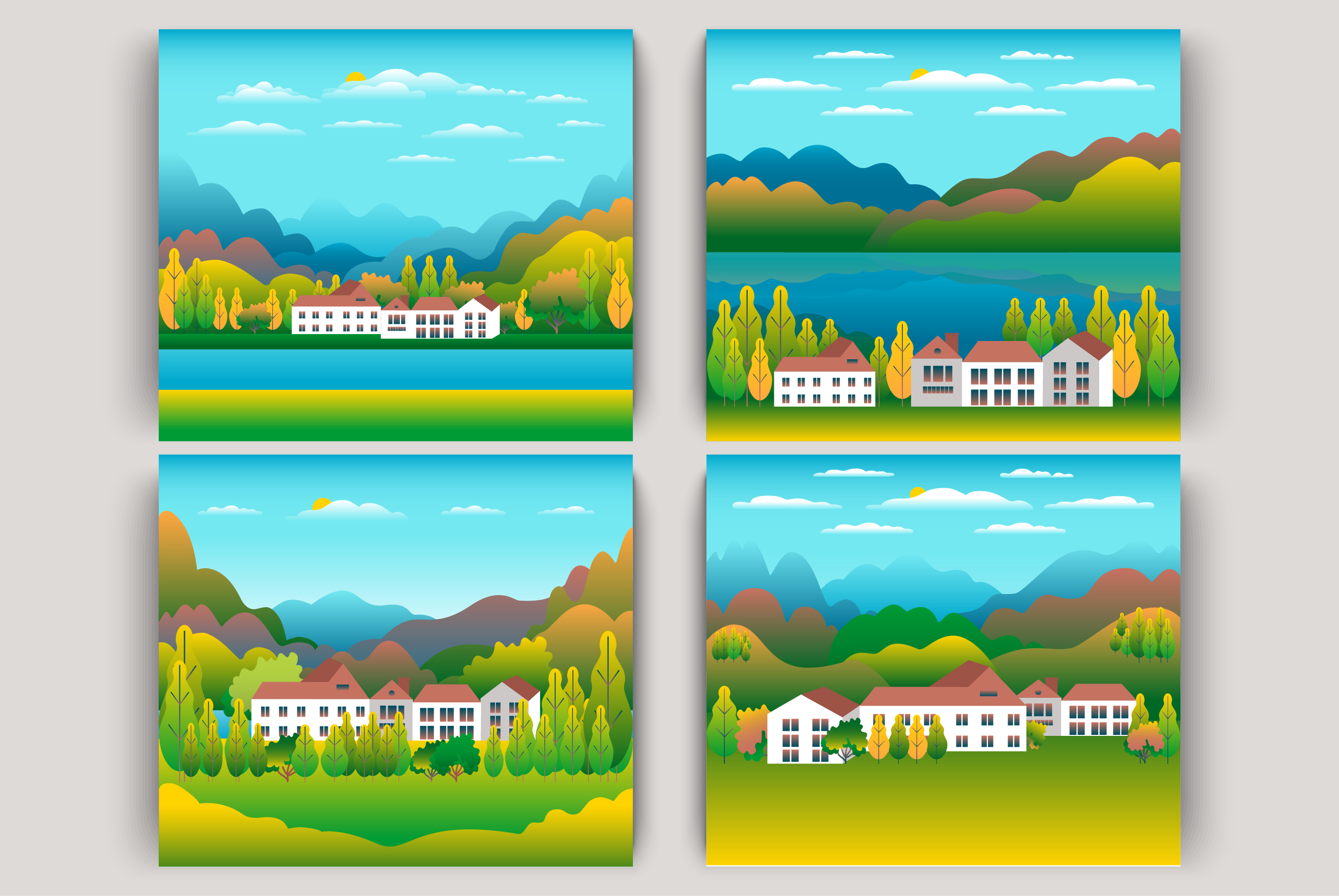 Hills, mountains and farm countryside landscape illustration example image 1