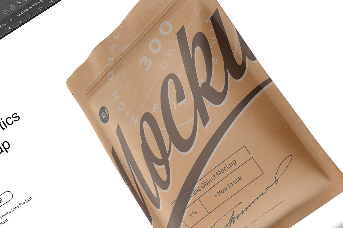 Kraft Cosmetics Bag Mockup example image 6