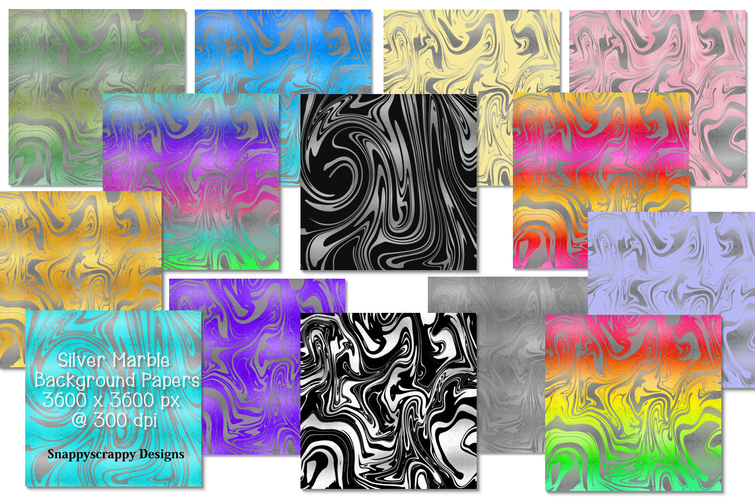 Silver Marble Background Papers example image 1