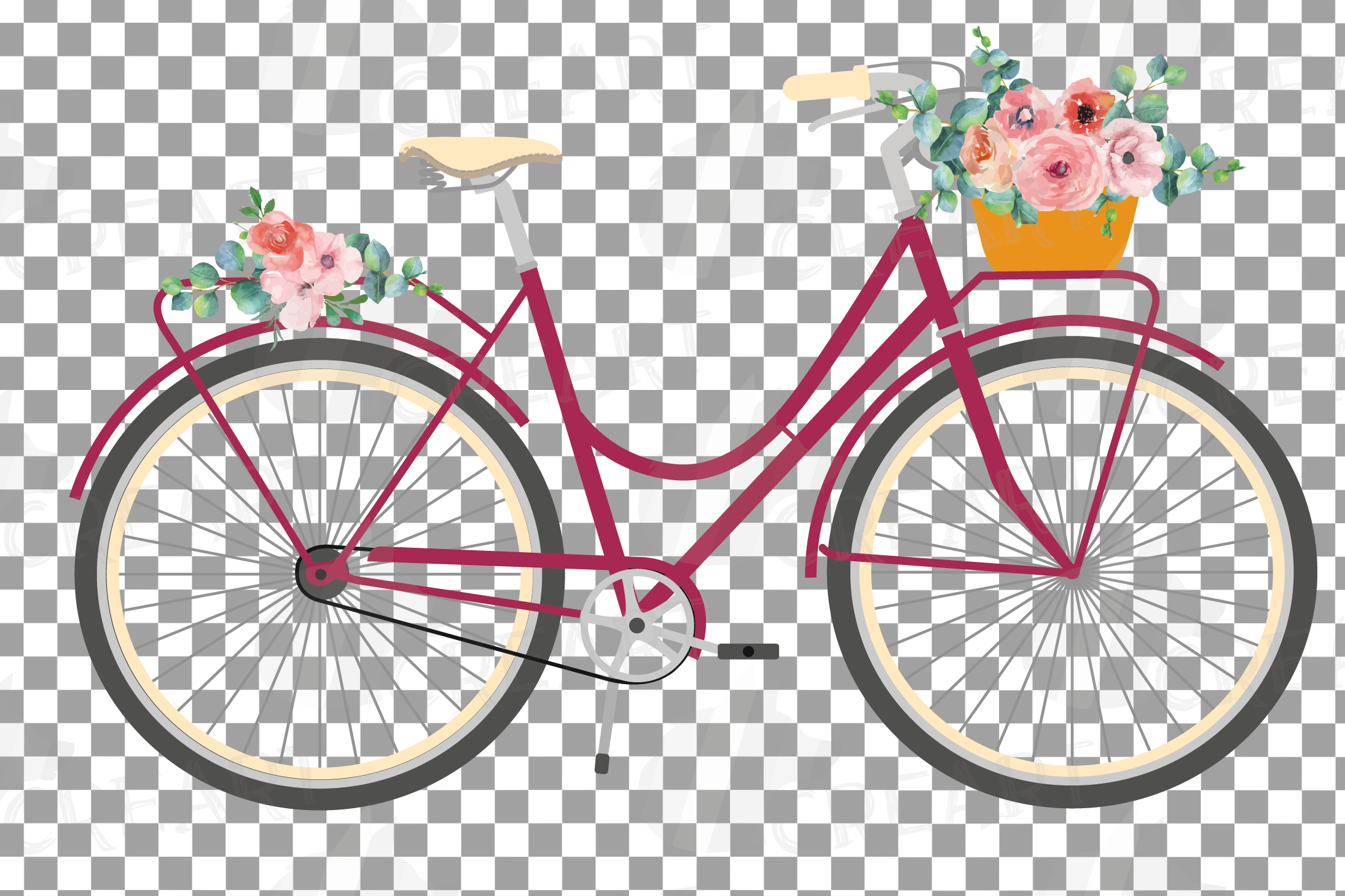 Floral bicycles clip art pack, blush floral and eucalyptus example image 7