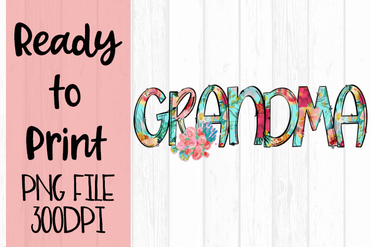 Bright Floral Grandma Ready to Print example image 1