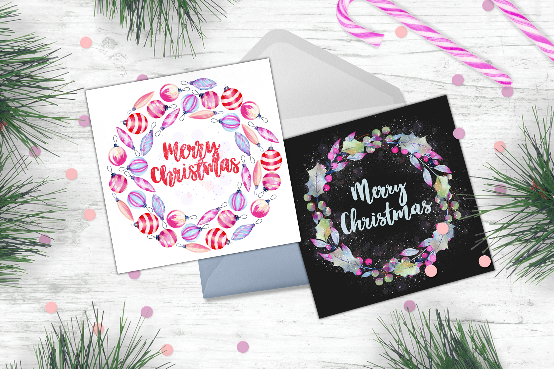 Let it snow. Watercolor Christmas clipart. example image 10