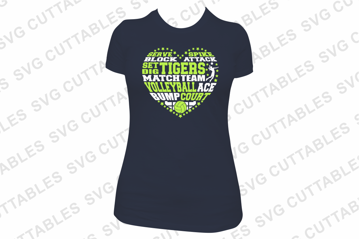 Volleyball svg, Volleyball Heart Subway Art svg cut file example image 2