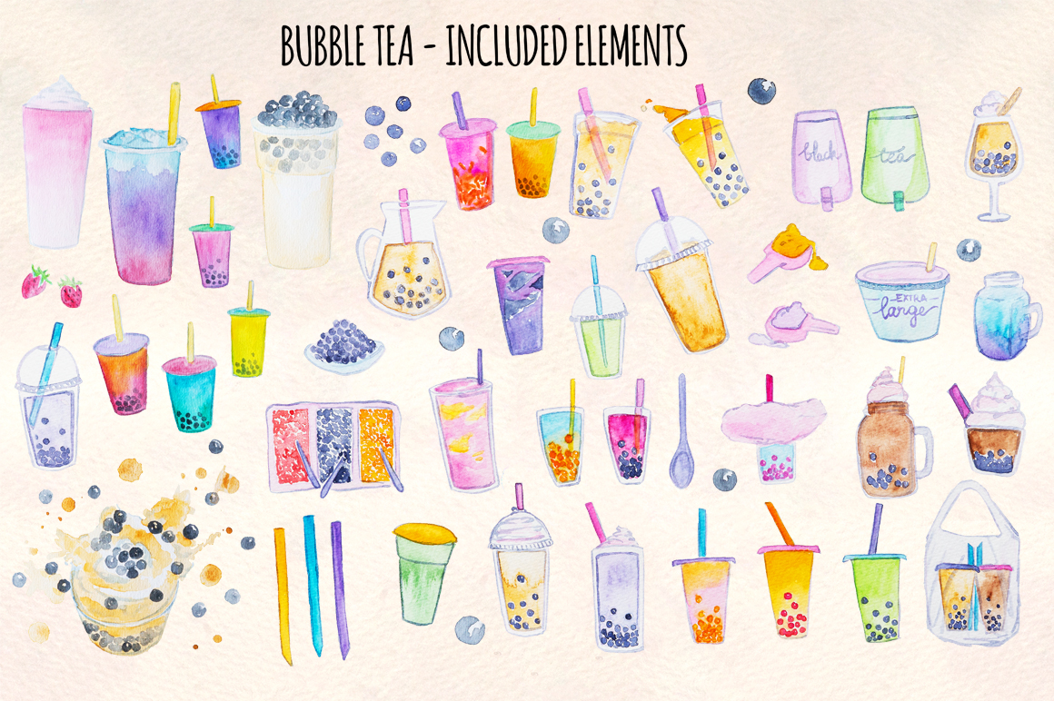 58 Bubble Tea Watercolor Graphics Paintings example image 2