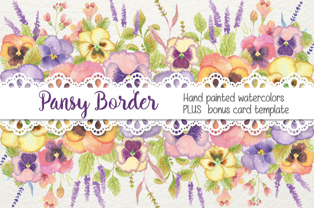 Watercolor border of pansies example image 1