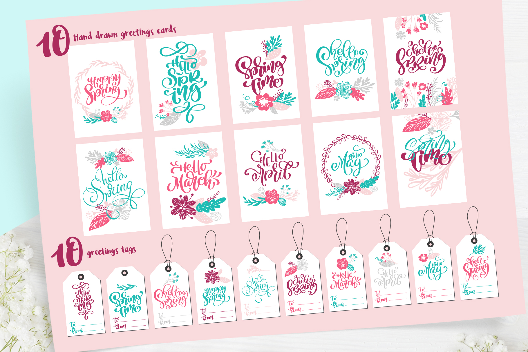 Spring vector lettering & floral greeting card example image 10