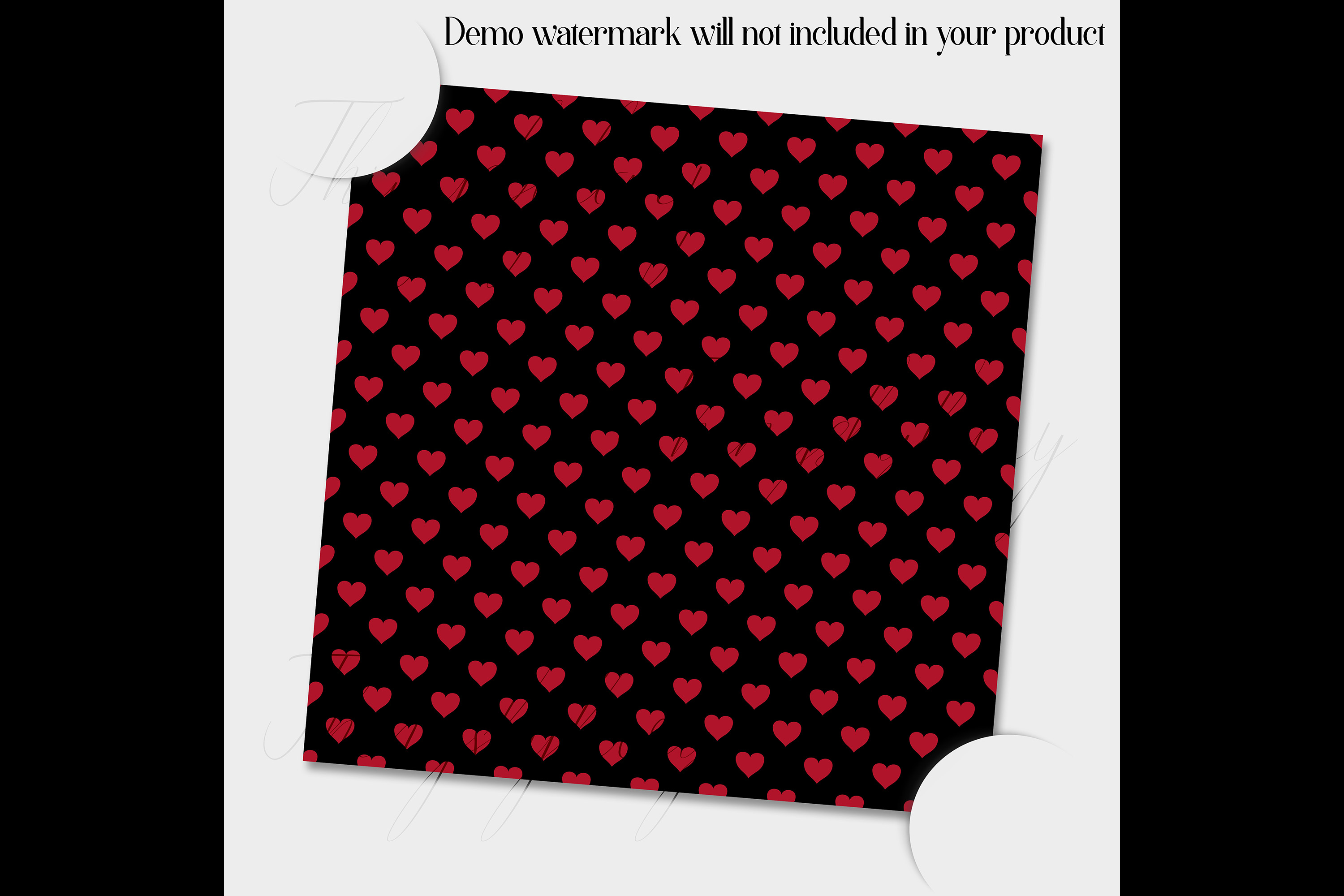 100 Seamless Black and Solid Heart Valentine Digital Papers example image 2