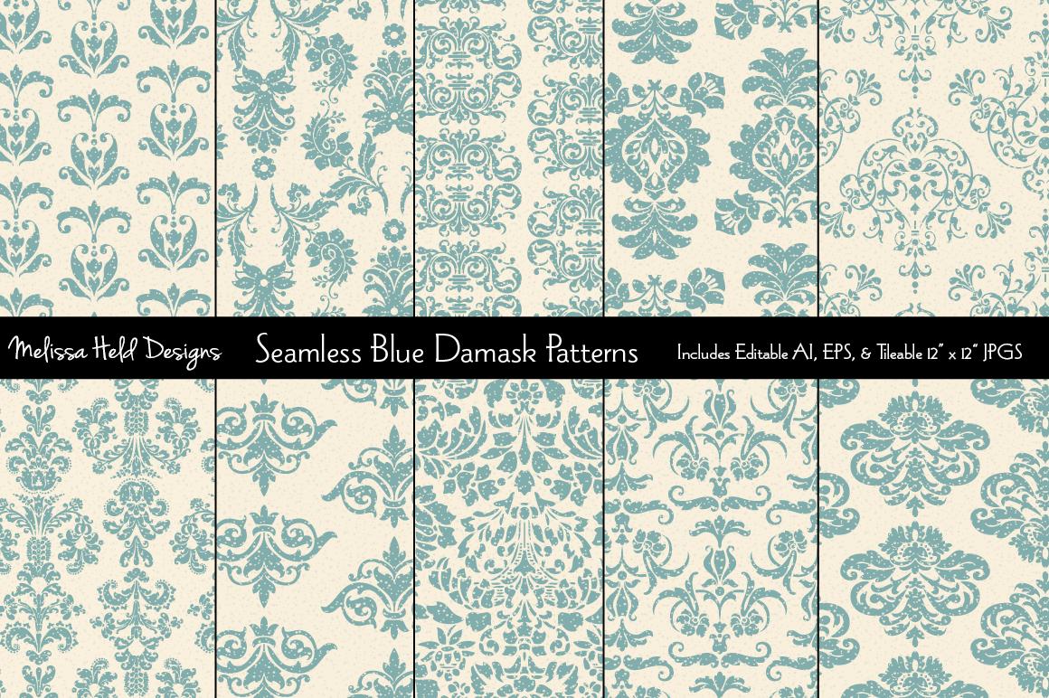 Seamless Blue Damask Patterns example image 1