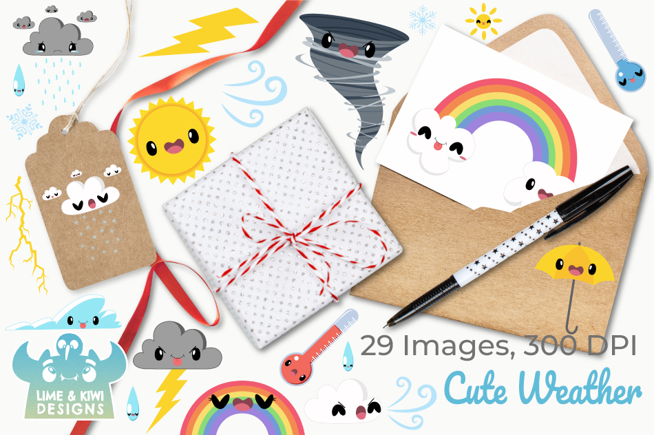 Cute Weather Clipart, Instant Download Vector Art example image 4