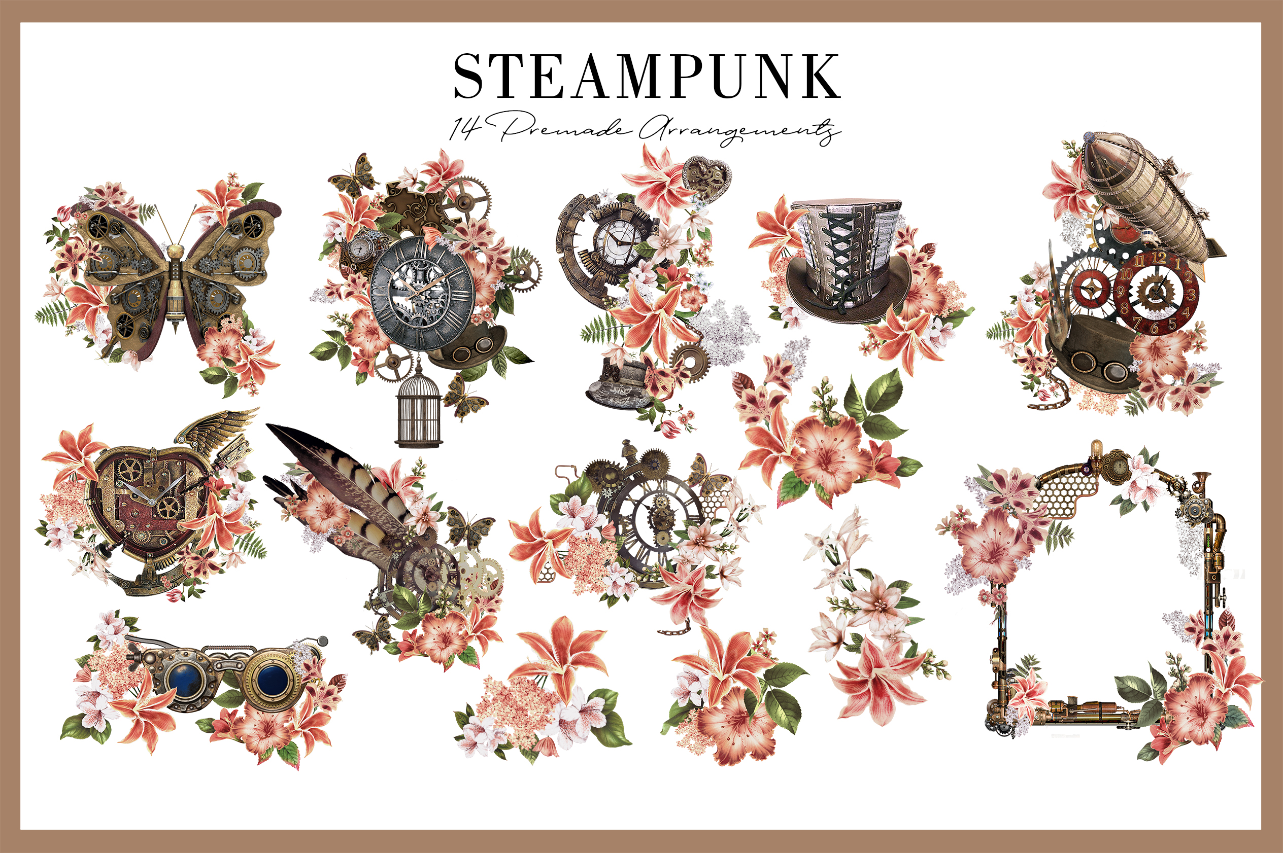 Steampunk |68 Elements in PNG example image 3