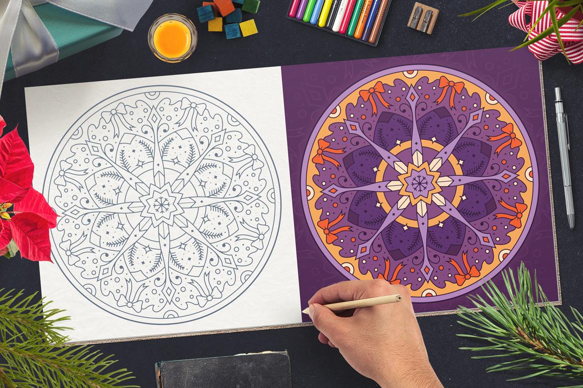 100 Christmas Mandala Ornaments example image 23