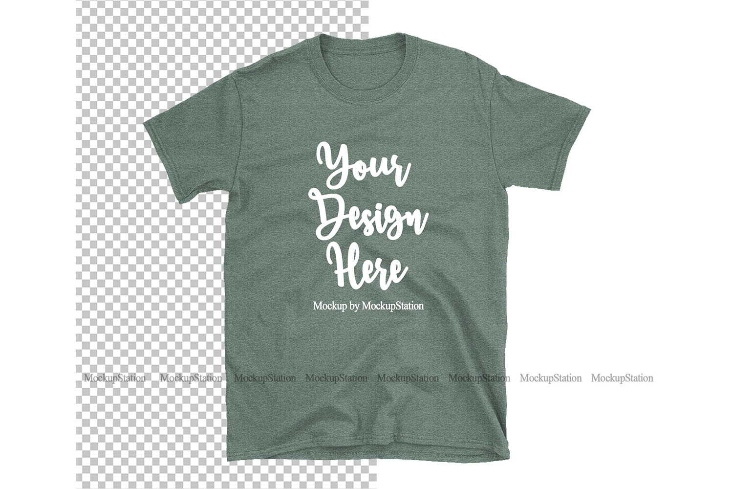 Heather Forest Gildan TShirt Mockup Transparent Background example image 1