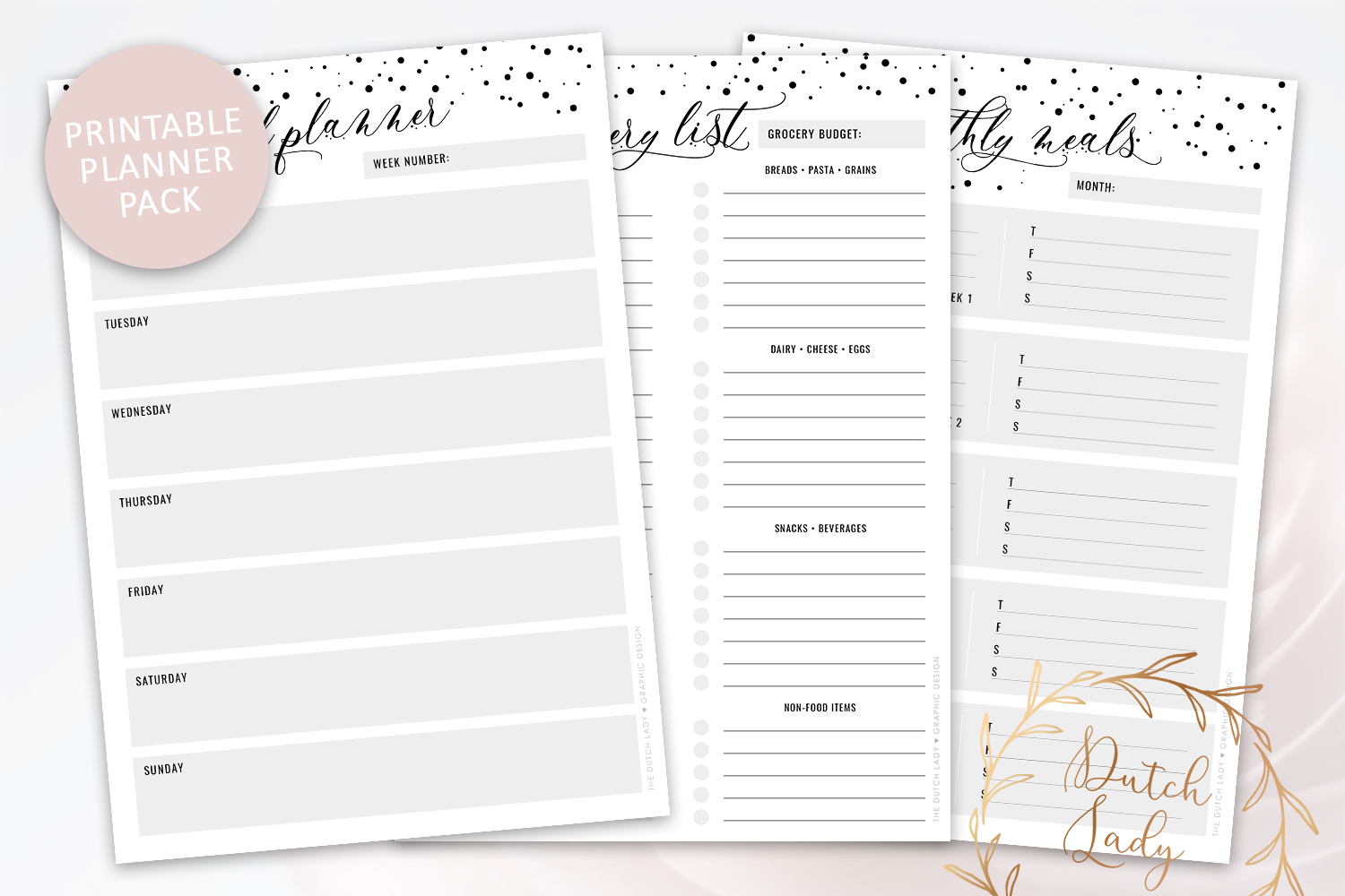 Printable Meal Plan & Grocery List - Planner Pack - Polkadot example image 1
