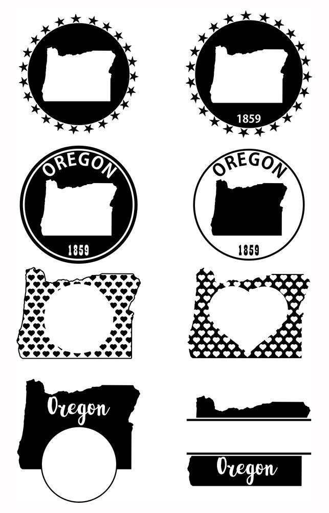 Oregon Monograms SVG, JPG, PNG, DWG, CDR, EPS, AI example image 3