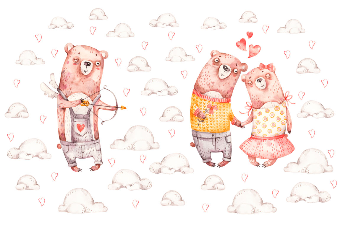 Cozy Valentines Day. Lovely bears watercolor collection example image 19