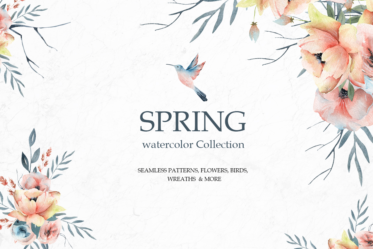 Spring Watercolor Collection, Summer coral and pink flowers example image 1