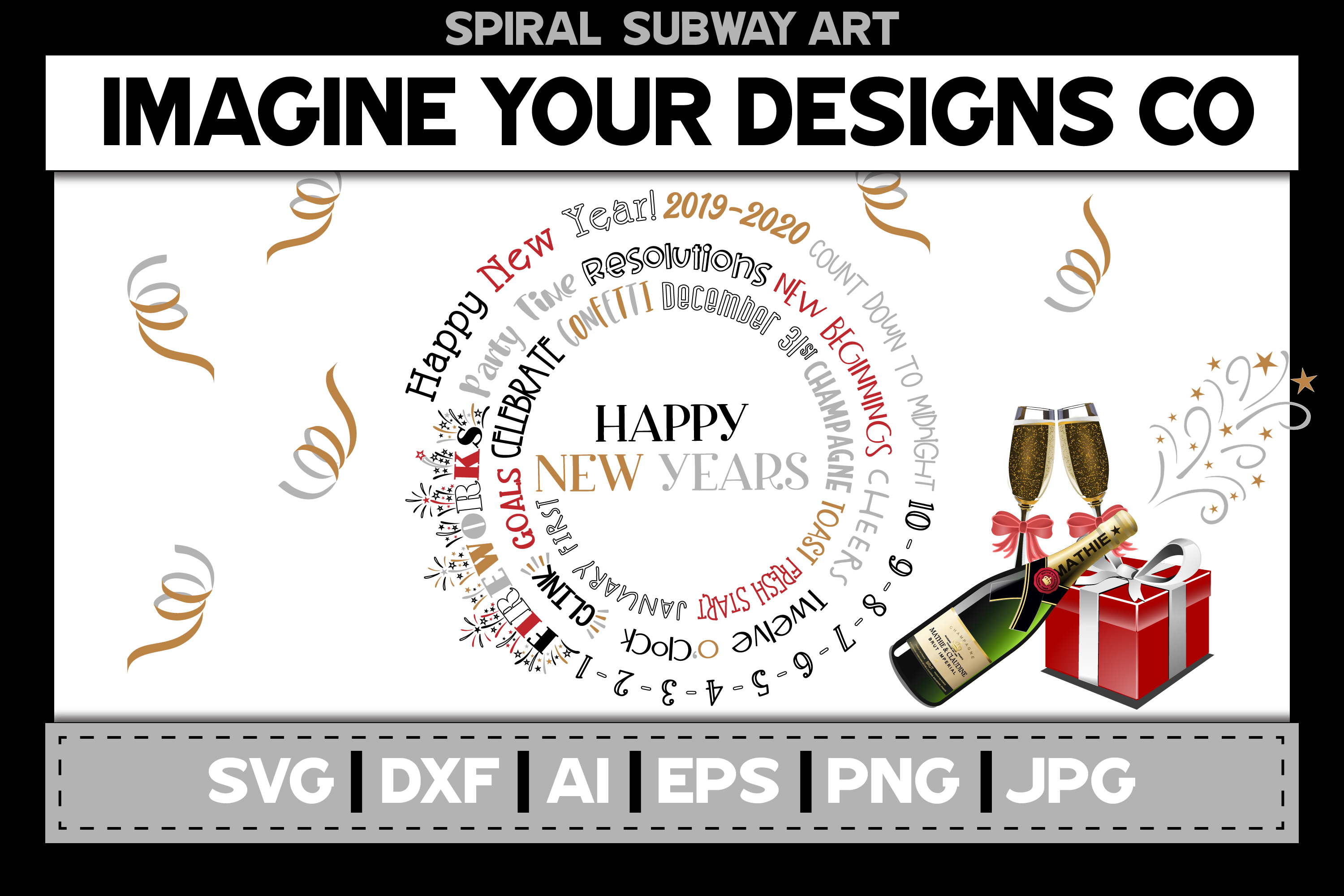 Merry Christmas Spiral Subway Art, SVG Cut File Sublimation example image 3