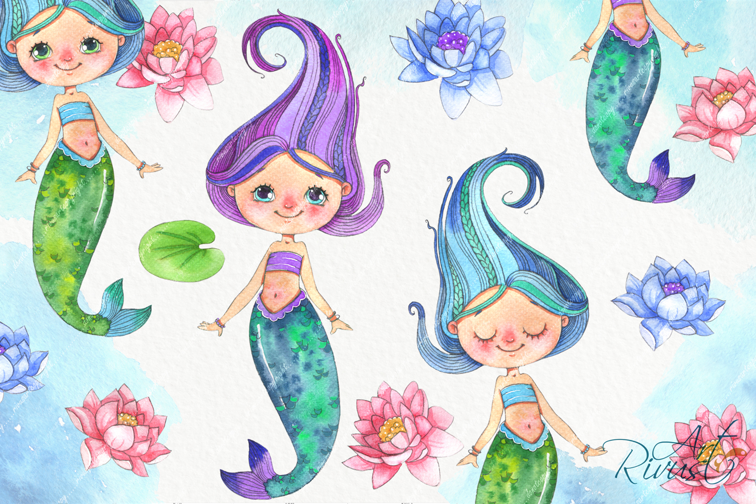 Cute mermaids clipart pack. Watercolor clip art baby shower example image 6
