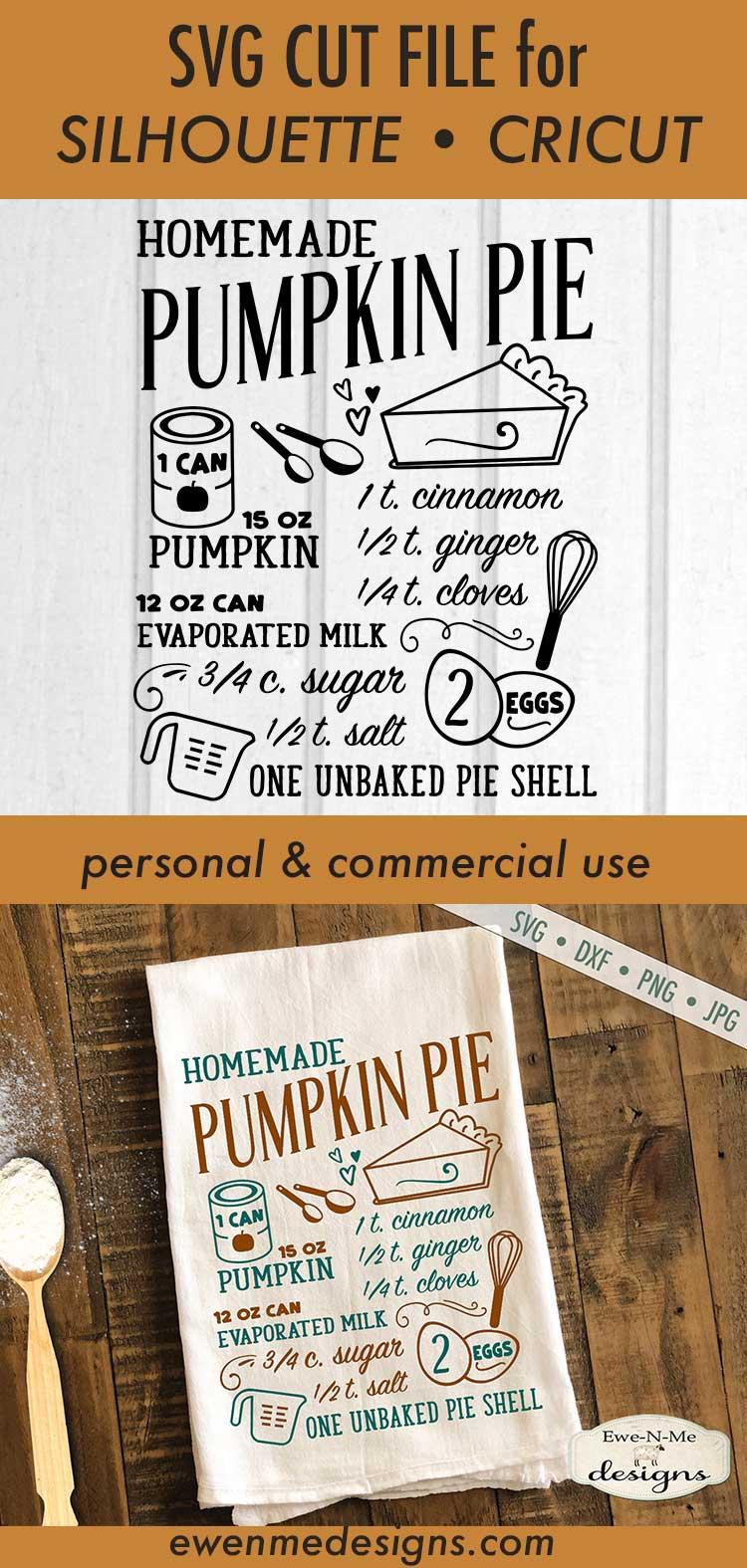 Pumpkin Pie Recipe - Fall - SVG DXF Files example image 4