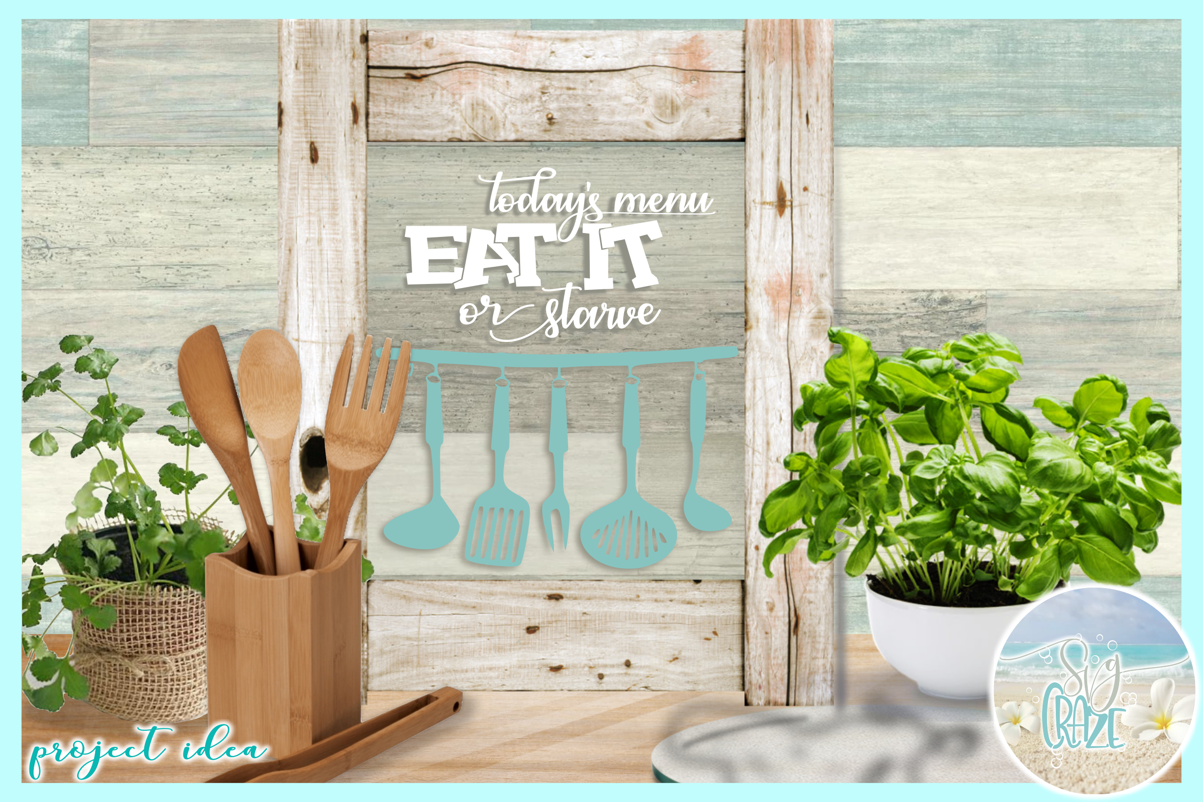 Fun Kitchen Quote Bundle SVG Dxf Eps Png PDF files example image 2