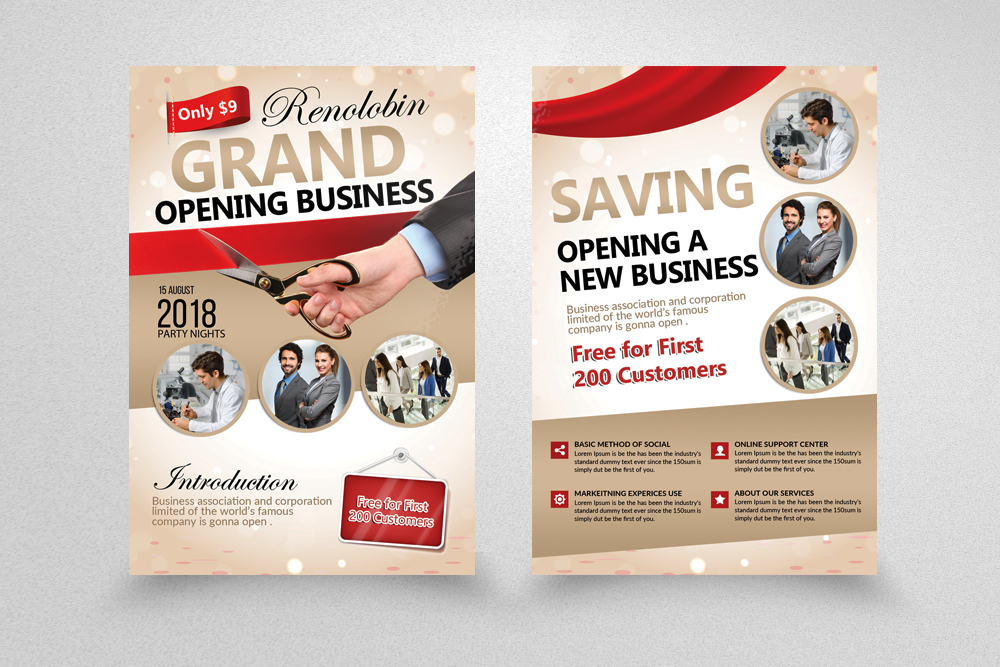 10 business grand opening flyers bundle
