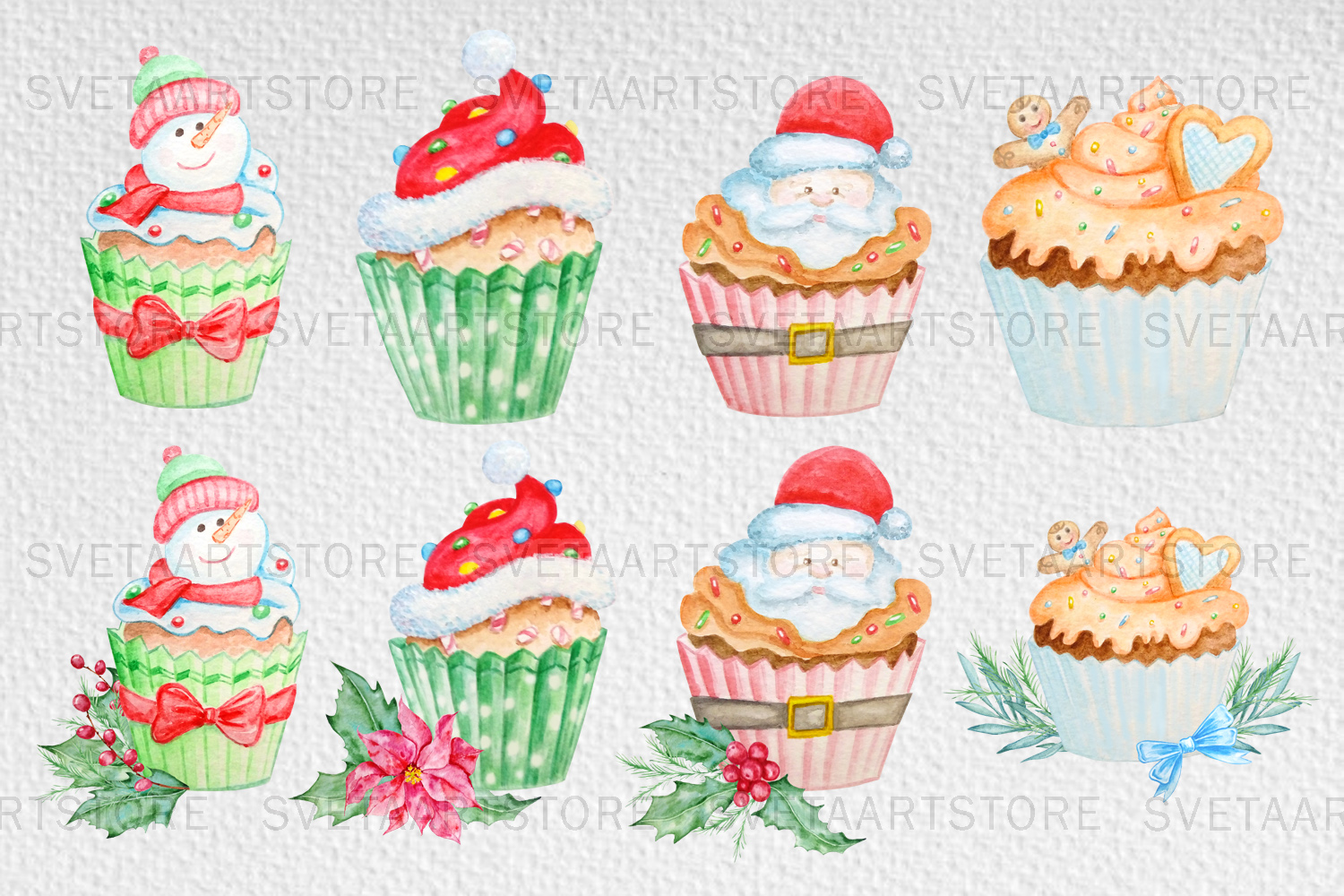 Christmas cupcakes clipart, watercolor cake example image 4