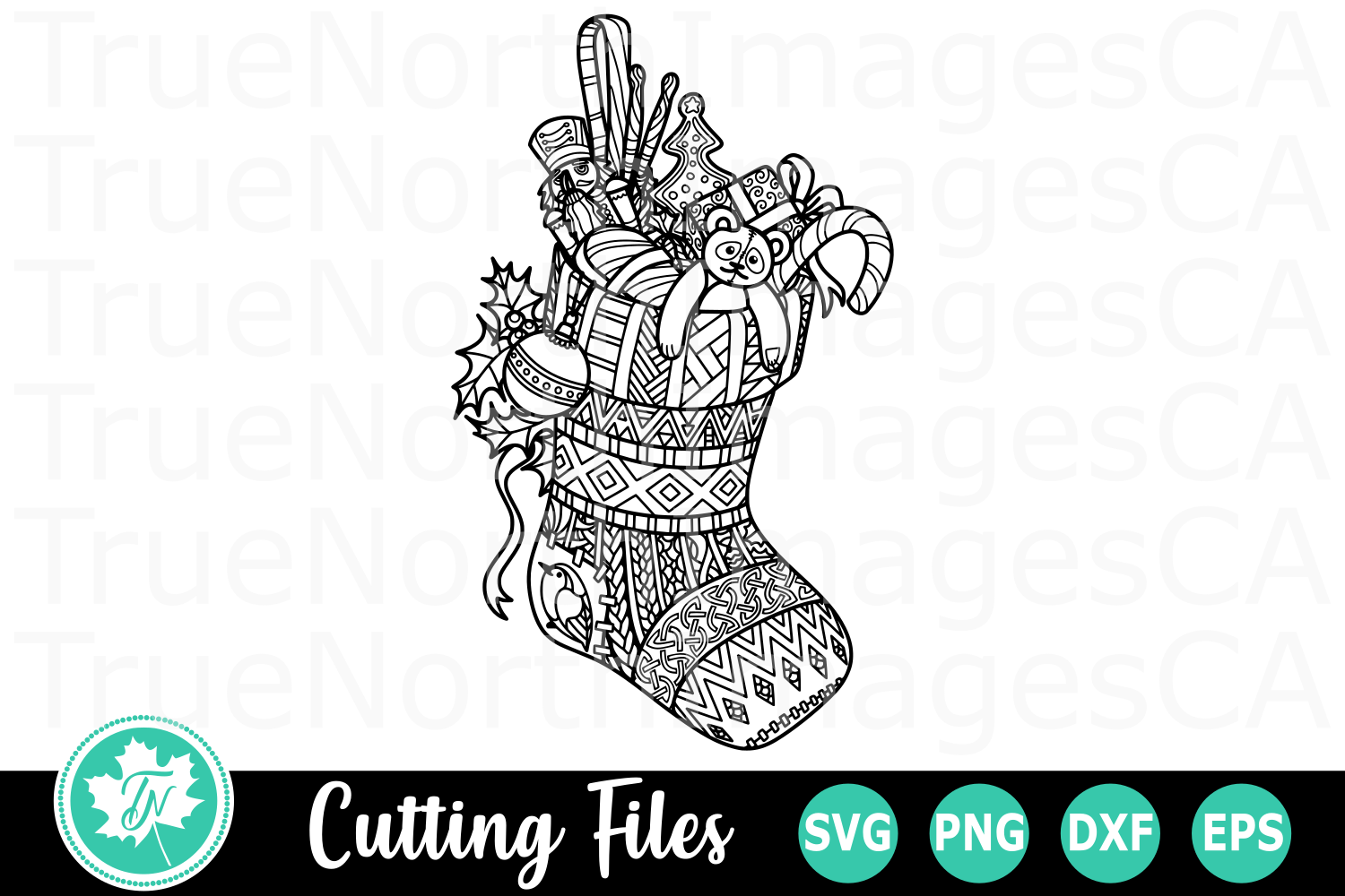 Zentangle Stocking - A Christmas SVG Cut File example image 1