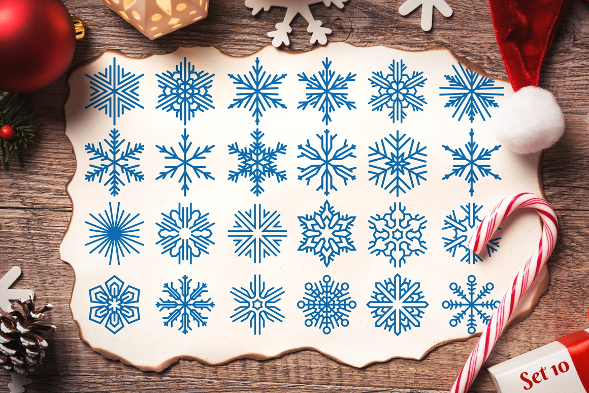 500 Snowflake Vector Ornaments example image 18