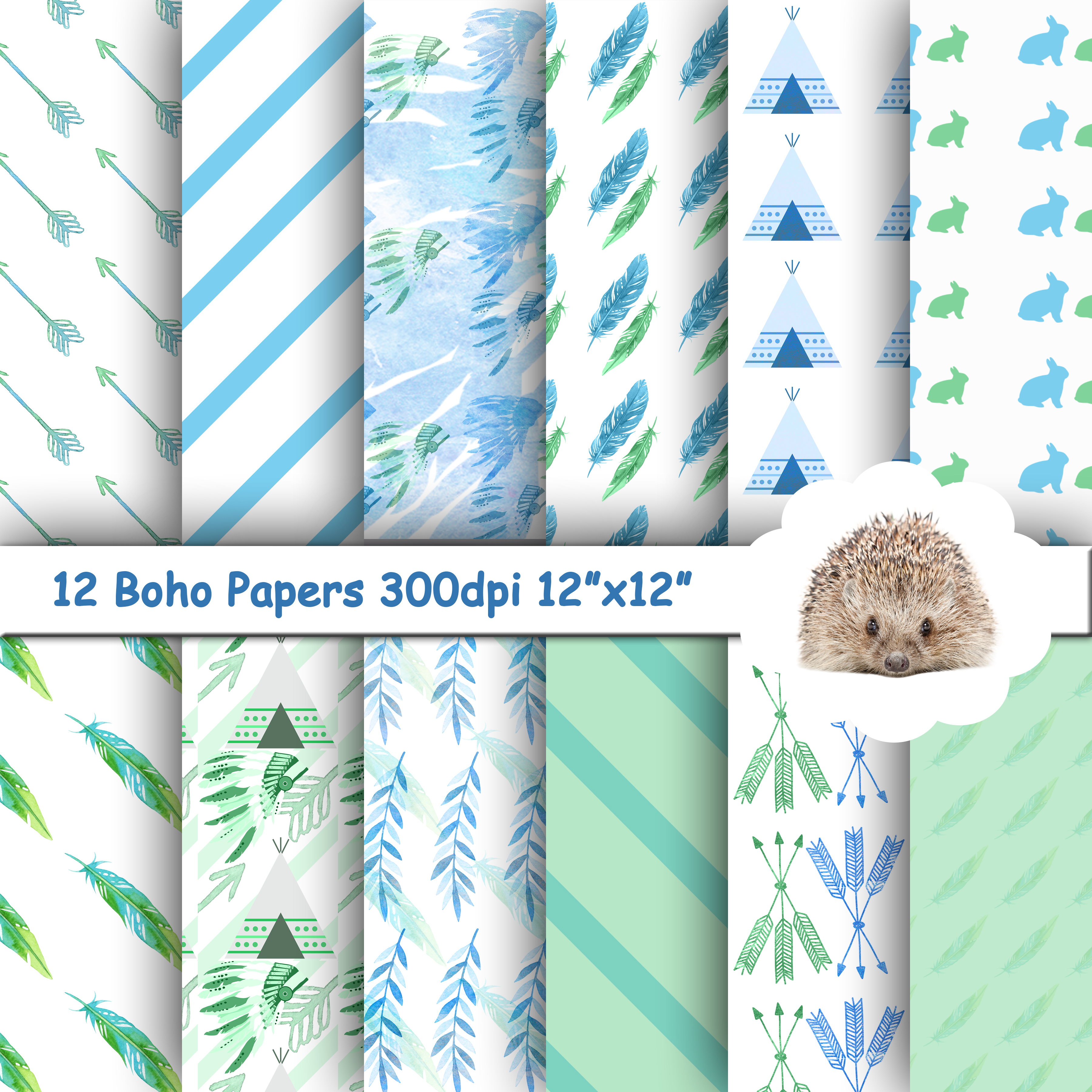 12 Blue and Green Boho Patterned Papers / Backgrounds example image 1