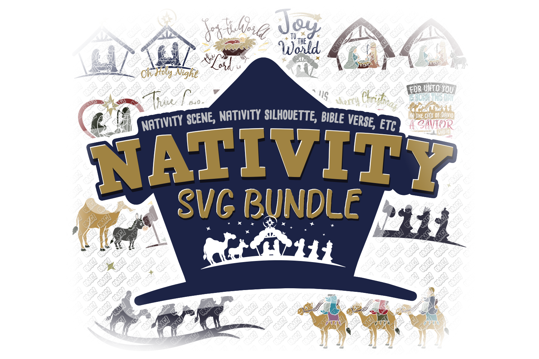 Nativity SVG Christmas Bundle in SVG, DXF, PNG, EPS, JPEG example image 1