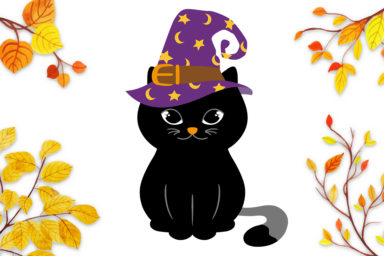 Halloween Cat in Witch Hat SVG - Halloween cut files example image 2