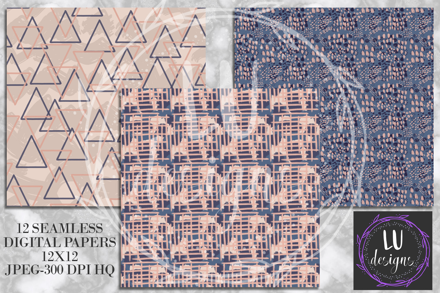 Navy and Nude Abstract Paint Digital Paper example image 2