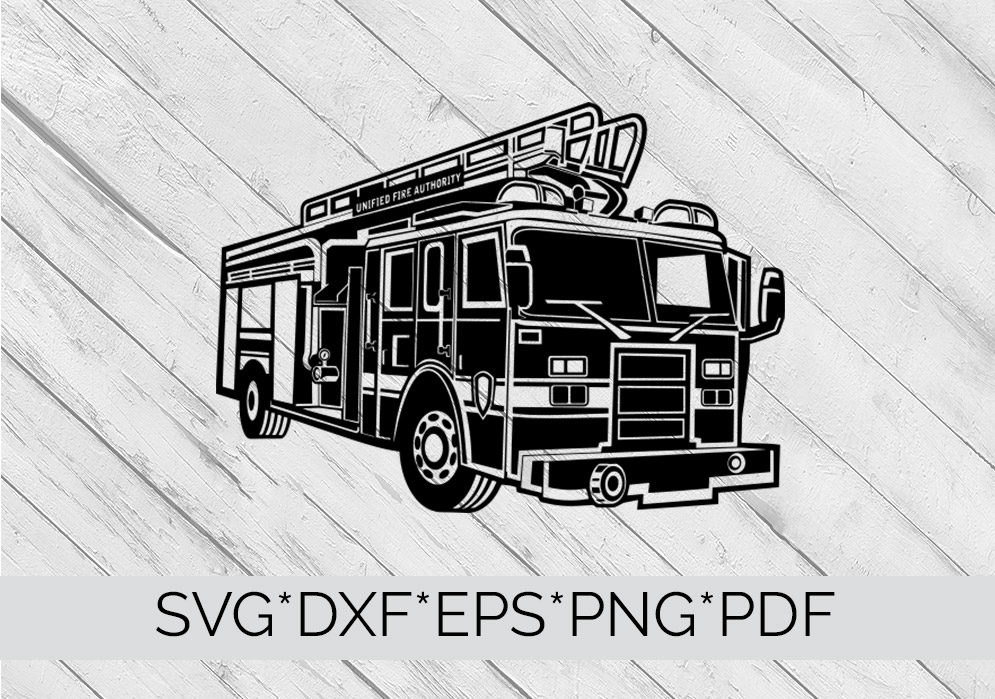 Fire Truck, Fire Engine SVG Cutting File  example image 4