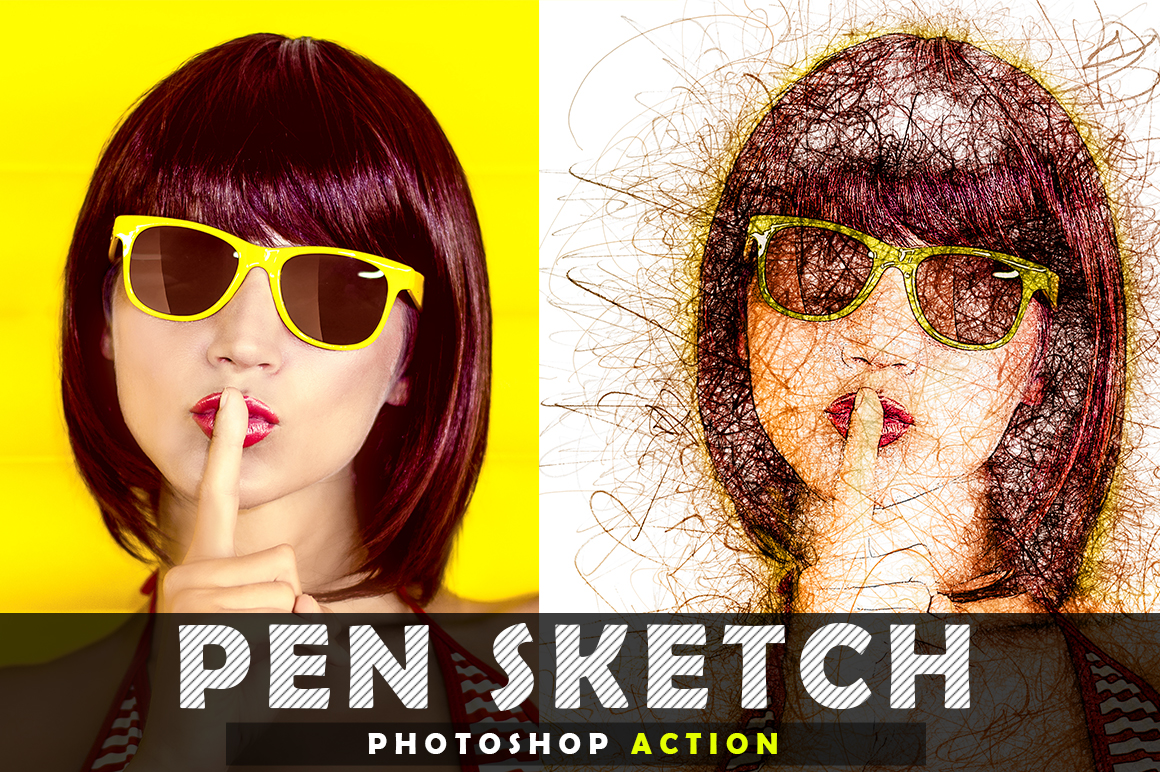 Pen Sketch Photoshop Action example image 7