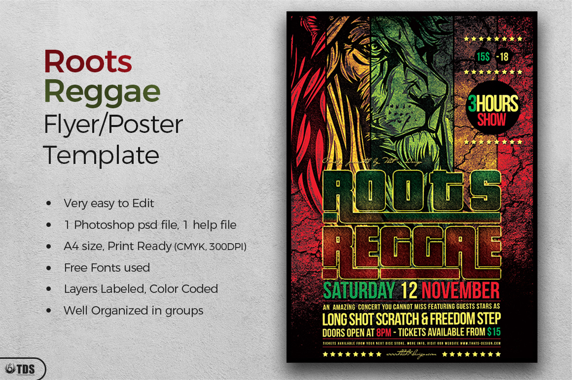 Roots Reggae Flyer Template example image 2