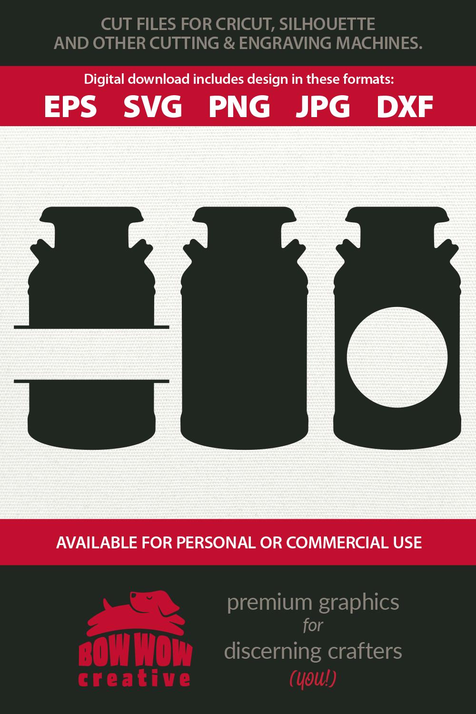 Milk Can Monogram bundle - SVG, EPS, JPG, PNG, DXF example image 2
