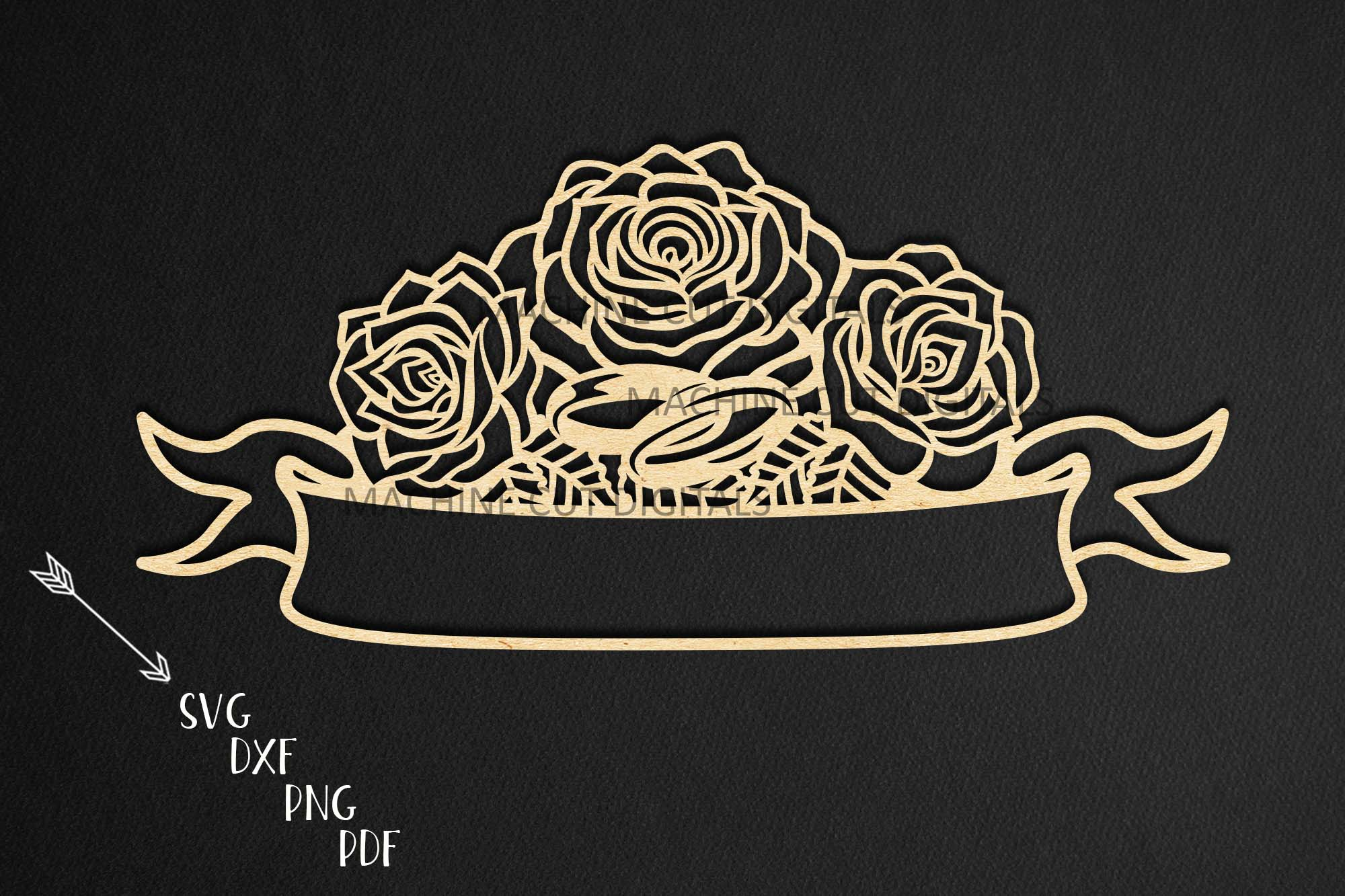 Wedding roses with rings banner for names svg dxf laser cut example image 1