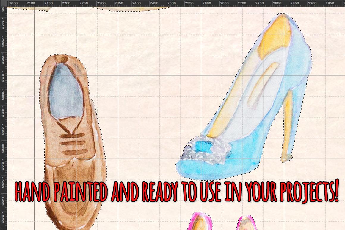 44 Heels, Sneakers and Ladies Shoes Watercolour Paintings example image 3
